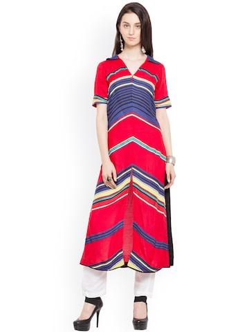 Nikhaar Women Red Striped Straight Kurta Nikhaar Kurtas at myntra