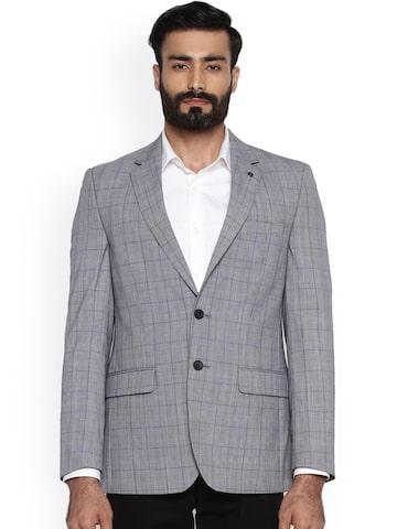 Raymond Grey Regular Fit Single-Breasted Checked Blazer Raymond Blazers at myntra