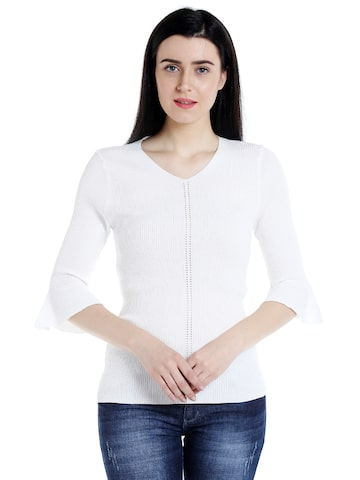 109F Women Off-White Solid Top 109F Tops at myntra