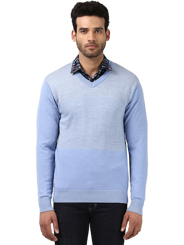 Raymond Men Blue Self-Design Pullover Raymond Sweaters at myntra