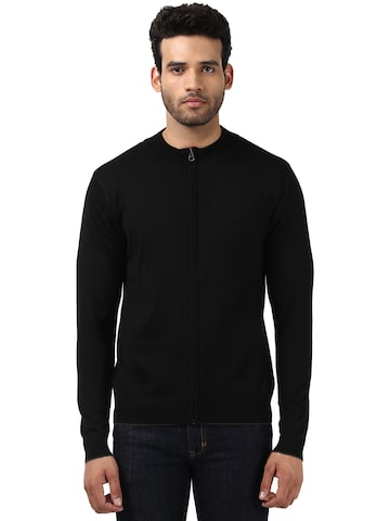 Raymond Men Black Solid Front-Open Sweater Raymond Sweaters at myntra