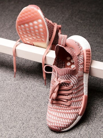 Adidas Originals Women Dusty Pink & Off-White NMD_R1 STLT Woven Sneakers Adidas Originals Casual Shoes at myntra