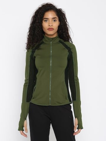 Puma Women Olive Green Solid Sporty Jacket Puma Jackets at myntra