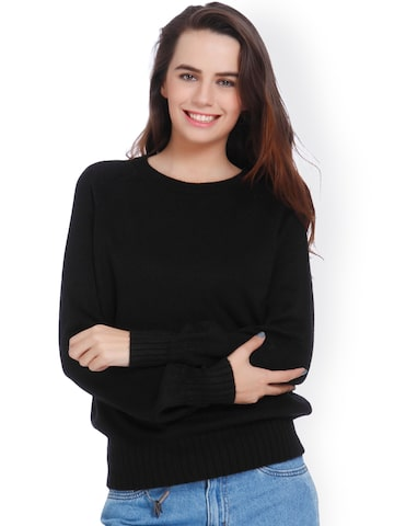 ONLY Women Black Solid Pullover Sweater ONLY Sweaters at myntra