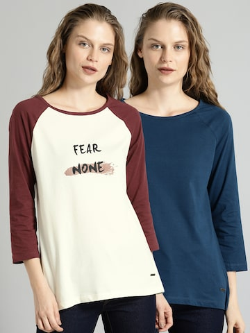 13157fe0960b Roadster Women Pack of 2 T-shirts Roadster Tshirts from myntra in T Shirt