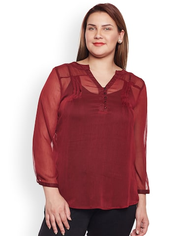 Oxolloxo Women Maroon Solid Top Oxolloxo Tops at myntra