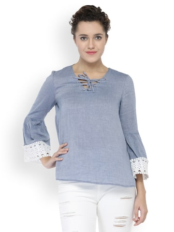 Oxolloxo Women Grey Solid Top Oxolloxo Tops at myntra