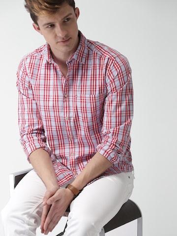 Harvard Men Blue & Red Regular Fit Checked Casual Shirt Harvard Shirts at myntra