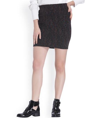 Vero Moda Black Self-Design A-Line Skirt Vero Moda Skirts at myntra