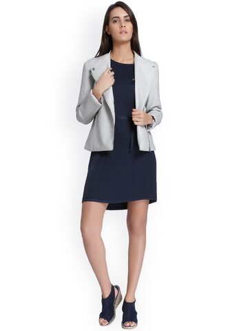 Vero Moda Women Grey Solid Biker Jacket Vero Moda Jackets at myntra