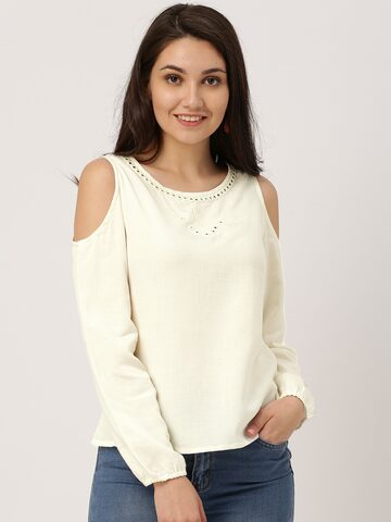 IMARA Women Off-White Solid Cold-shoulder Top IMARA Tops at myntra