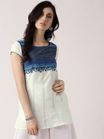IMARA Women Off-White & Blue Dyed Top IMARA Tops at myntra