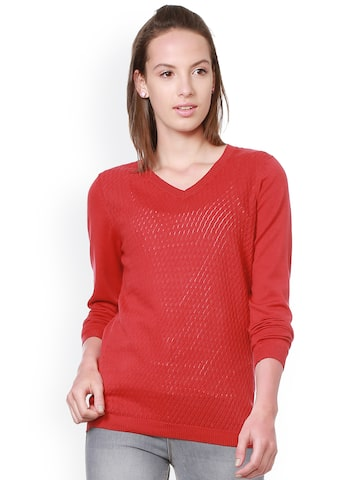 Allen Solly Woman Women Red Self Design Top Allen Solly Woman Tops at myntra