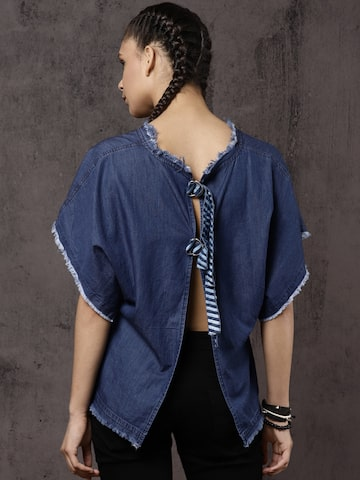 Roadster Women Blue Solid Styled Back Top Roadster Tops at myntra