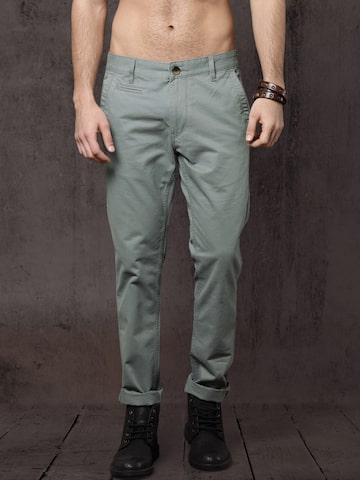 Roadster Men Grey Slim Fit Solid Chinos Roadster Trousers at myntra