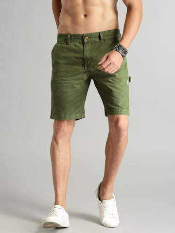 Roadster Men Olive Green Solid Shorts Roadster Shorts at myntra