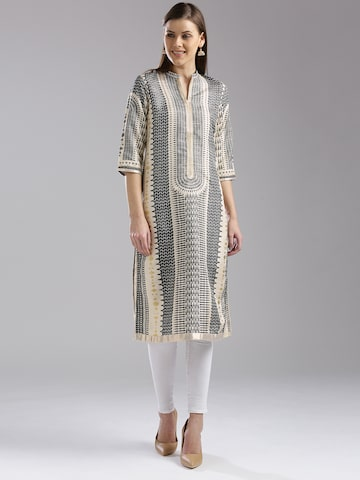 W Women Cream-Coloured & Grey Printed Straight Kurta W Kurtas at myntra