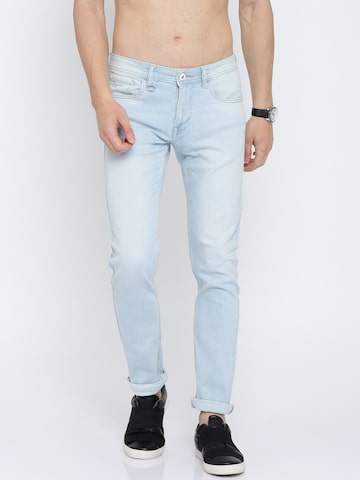 Flying Machine Men Blue Tapered Fit Low-Rise Clean Look Stretchable Jeans Flying Machine Jeans at myntra