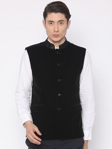 Van Heusen Black Slim Fit Nehru Jacket Van Heusen Waistcoat at myntra