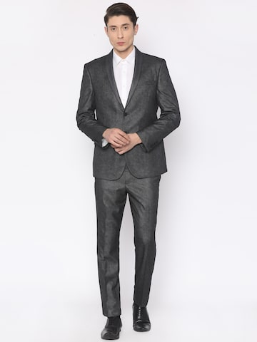 V Dot Men Charcoal Grey Patterned Skinny Fit Single-Breasted Formal Suit V Dot Suits at myntra