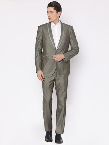 V Dot Grey Self Design Slim Fit Single-Breasted Formal Suit V Dot Suits at myntra