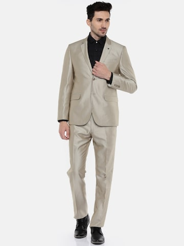 Van Heusen Beige Single-Breasted Slim Fit Formal Suit Van Heusen Suits at myntra