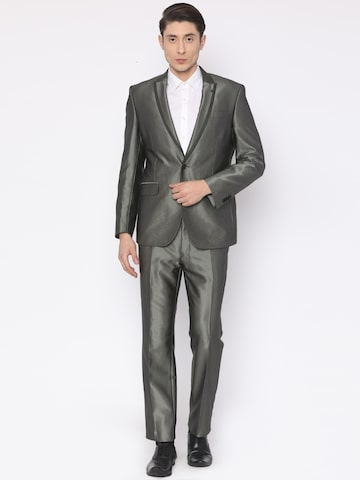 Van Heusen Grey Pattern Woven Single-Breasted Slim Fit Formal Suit Van Heusen Suits at myntra