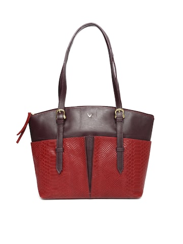Hidesign Red & Burgundy Textured Colourblocked Leather Shoulder Bag Hidesign Handbags at myntra