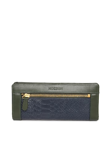 Hidesign Women Navy & Green Textured Leather Two Fold Wallet Hidesign Wallets at myntra