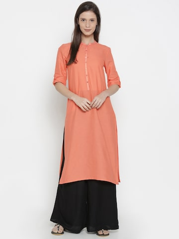 AURELIA Women Coral Orange Solid Straight Kurta AURELIA Kurtas at myntra