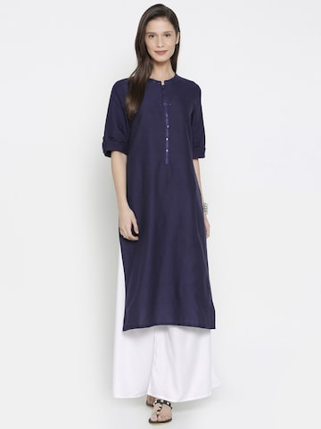 AURELIA Women Navy Blue Solid Straight Kurta AURELIA Kurtas at myntra