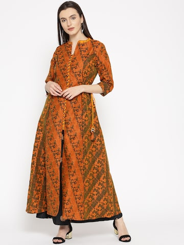 Shree Women Orange & Olive Green Printed A-line Kurta Shree Kurtas at myntra