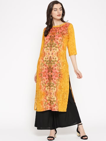 Shree Women Mustard Yellow & Pink Printed Straight Kurta Shree Kurtas at myntra