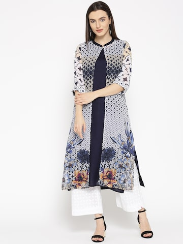 Shree Women Navy Solid A-Line Kurta with Printed Longline Ethnic Jacket Shree Kurtas at myntra