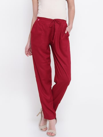 Shree Women Maroon Regular Fit Solid Casual Trousers Shree Trousers at myntra
