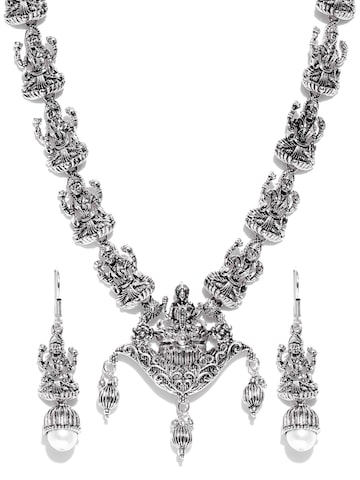 Zaveri Pearls Oxidised Silver-Toned Temple Jewellery Set Zaveri Pearls Jewellery Set at myntra