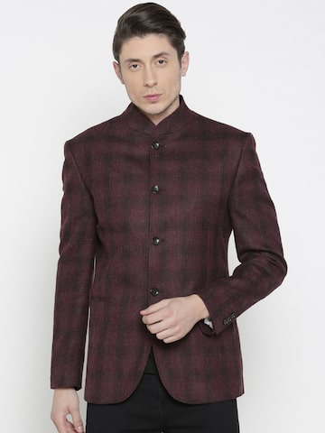 Allen Solly Burgundy Checked Wool Italian Fit Smart Casual Blazer Allen Solly Blazers at myntra