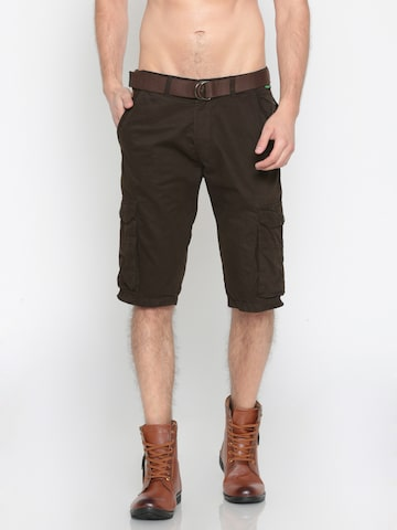Sports52 wear Men Coffee Brown Solid Regular Fit Cargo Shorts Sports52 wear Shorts at myntra