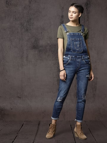 Roadster Women Blue Distressed Denim Dungarees Roadster Dungarees at myntra