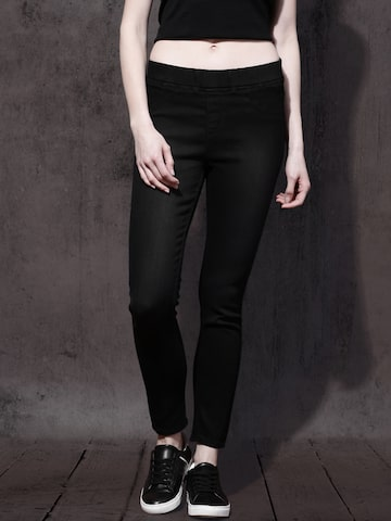 Roadster Women Black Skinny Fit Stretchable Jeggings Roadster Jeggings at myntra