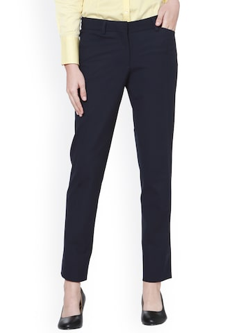 Allen Solly Woman Navy Blue Regular Fit Solid Formal Trousers Allen Solly Woman Trousers at myntra
