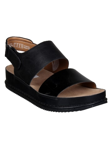 Clarks Women Black Comfort Sandals Clarks Sandals at myntra