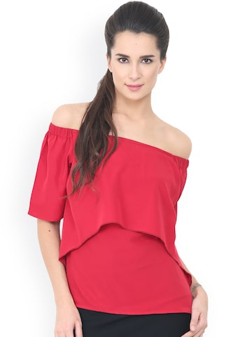 Trend Arrest Women Red Solid Bardot Top Trend Arrest Tops at myntra