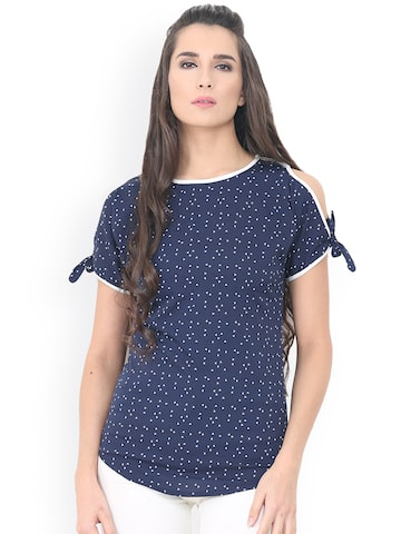 Trend Arrest Women Blue Printed Top Trend Arrest Tops at myntra