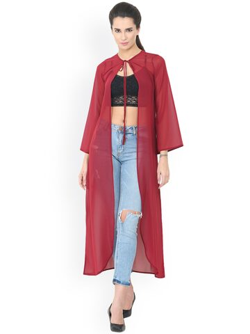 Trend Arrest Maroon Solid Open Front Shrug Trend Arrest Shrug at myntra