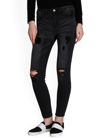 ONLY Women Black Slim Fit Mid-Rise Mildly Distressed Jeans ONLY Jeans at myntra