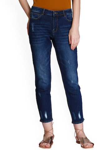 ONLY Women Blue Straight Fit Mid-Rise Low Distress Jeans ONLY Jeans at myntra