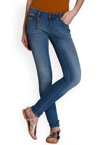 ONLY Women Blue Skinny it mid-rise clean look jeans ONLY Jeans at myntra