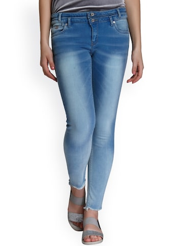ONLY Women Blue Slim Fit Mid-Rise Clean Look Jeans ONLY Jeans at myntra