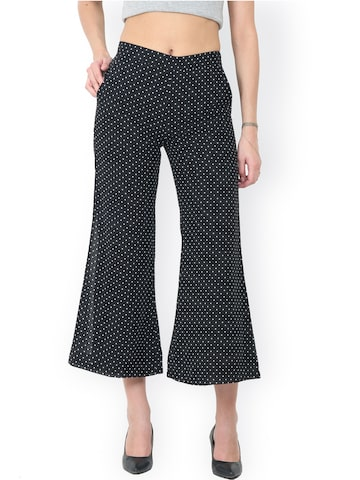 Trend Arrest Women Black Relaxed Loose Fit Printed Regular Trousers Trend Arrest Trousers at myntra